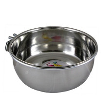 Stainless steel feeder- drinkingbowl 140ml, net mounting