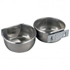 Stainless steel feeder- drinkingbowl 850ml, wallmounting
